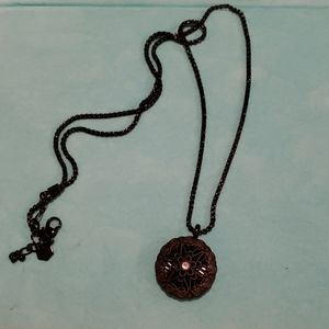 Origami black sentiments locket and chain